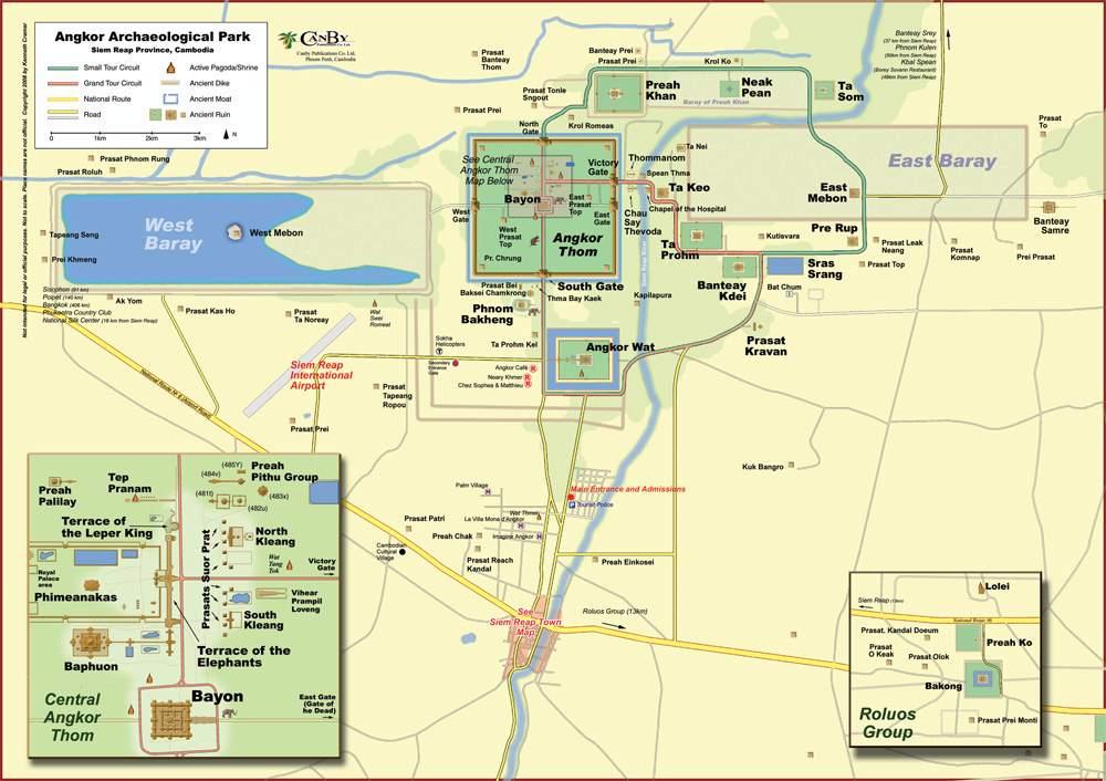 Карта храмов Ангкора
