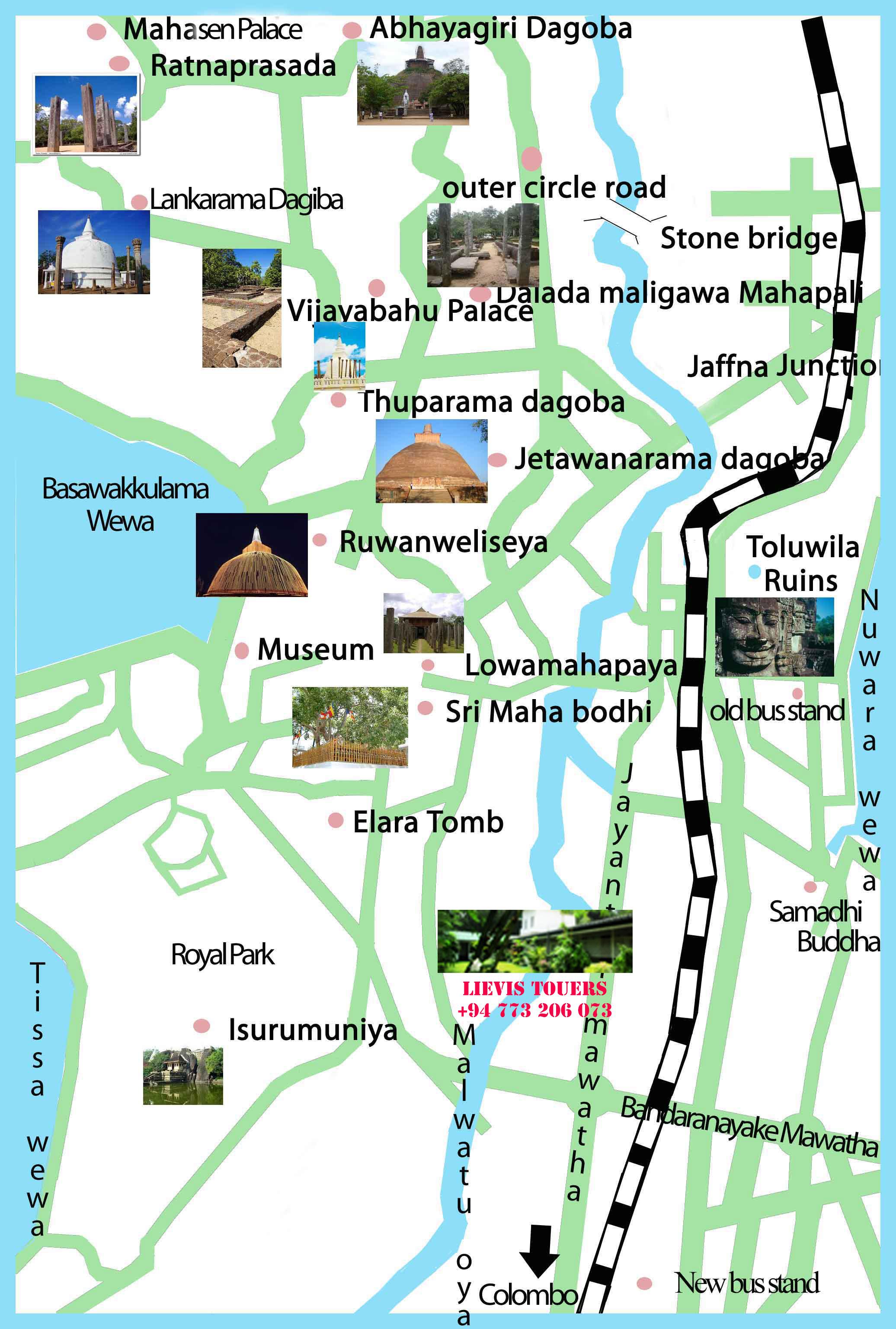 Главные достопримечаельности Анурадхапуры на карте