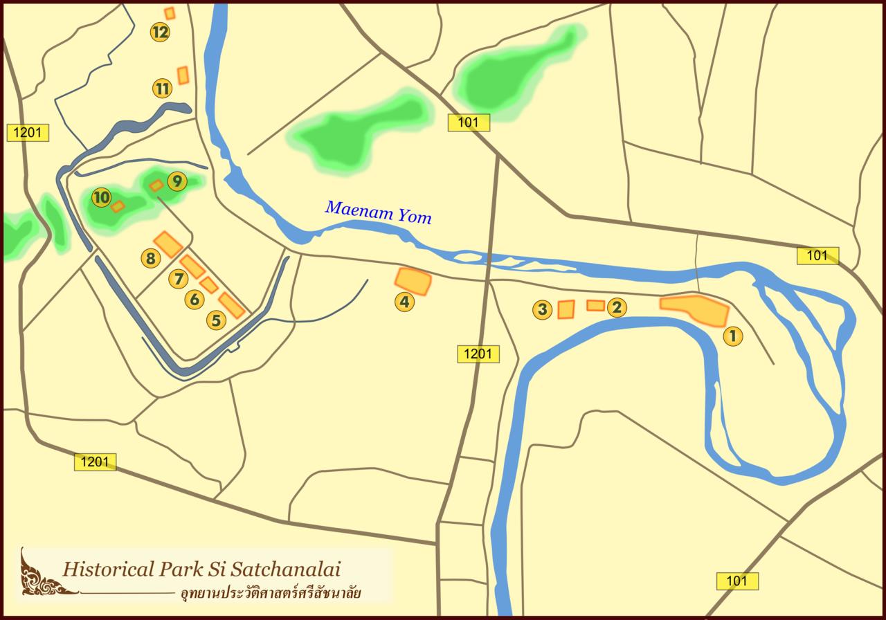 Таиланд - Исторический парк Си Сатчаналай, схема достопримечательностей (Thailand - Si Satchanalai Historical Park, Site Map)