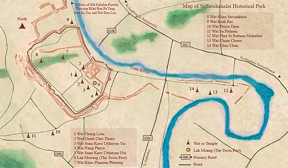 Таиланд - Си Сатчаналай - Карта исторического парка