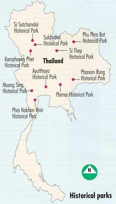 Схема Исторических парков Таиланда