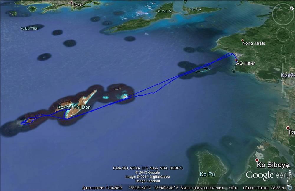Трек экскурсии в бухту Майя Бэй