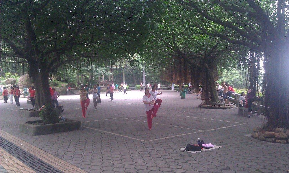 гимнастика в парке в Китае