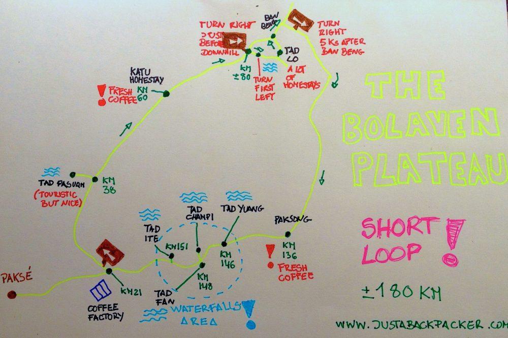 Схема маршрута по плато Болавен