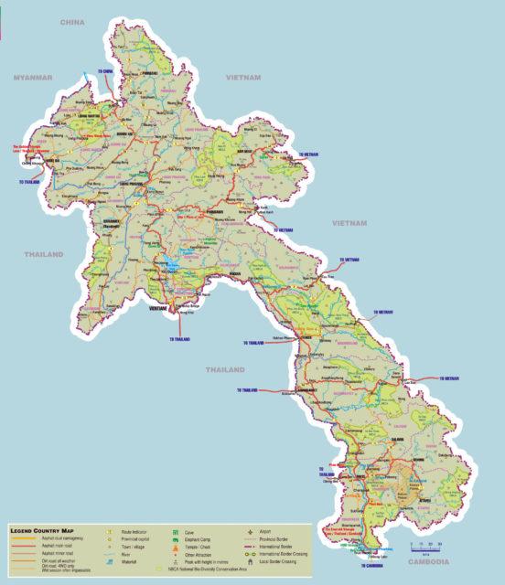 Карта Лаоса
