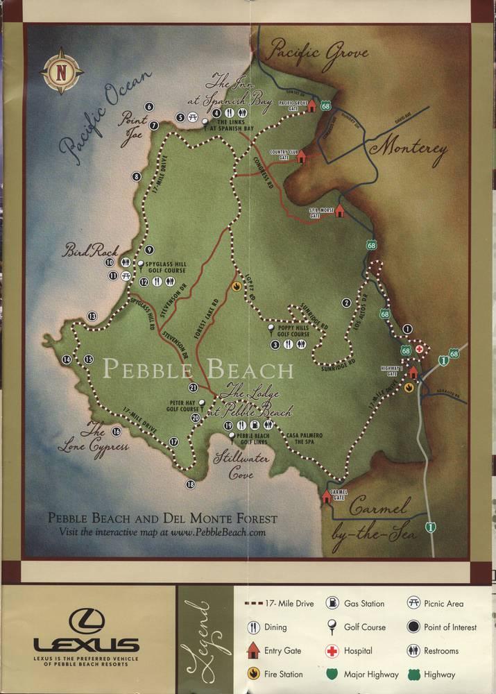 Карта 17-мильной дороги в Монтерее