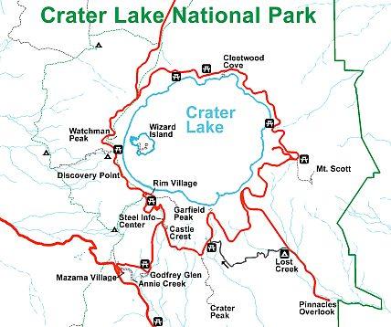 Карта национального парка Озеро Крейтер