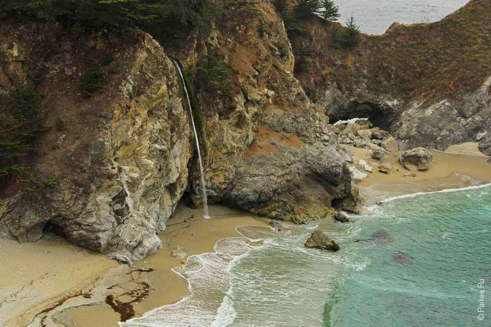 Водопад и пляж