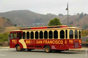 Осмотр моста Золотые Вороа на туристическом автобусе в Сан-Франциско