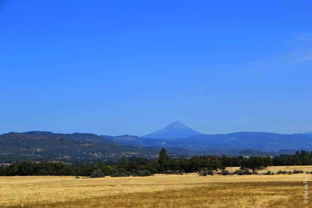 Желтые поля и вулкан на горизонте