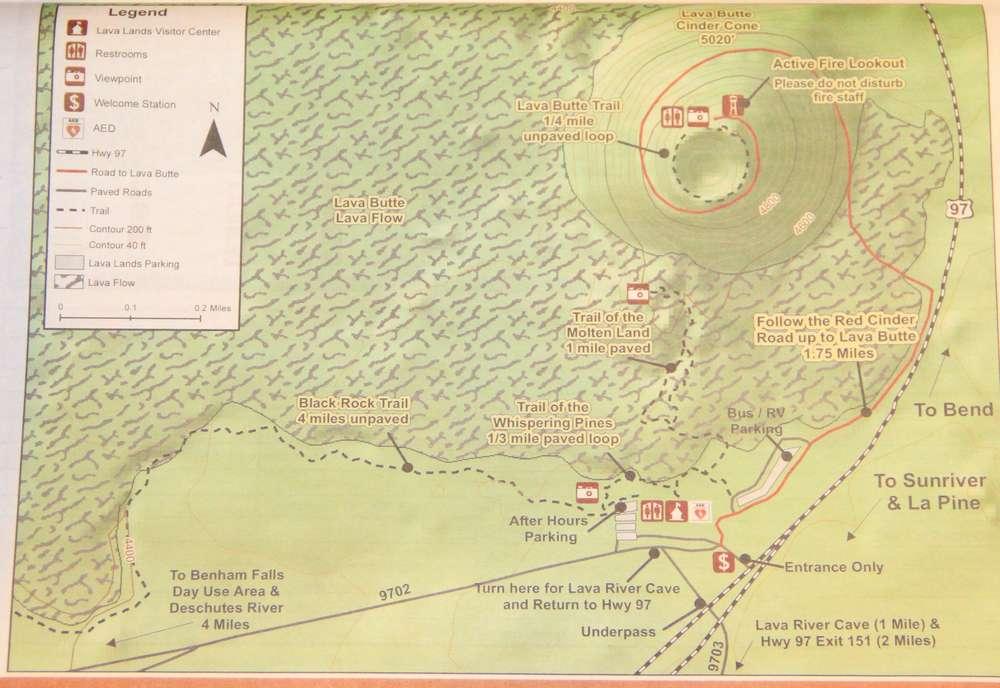 Карта кальдеры в Ньюберри Вулканик