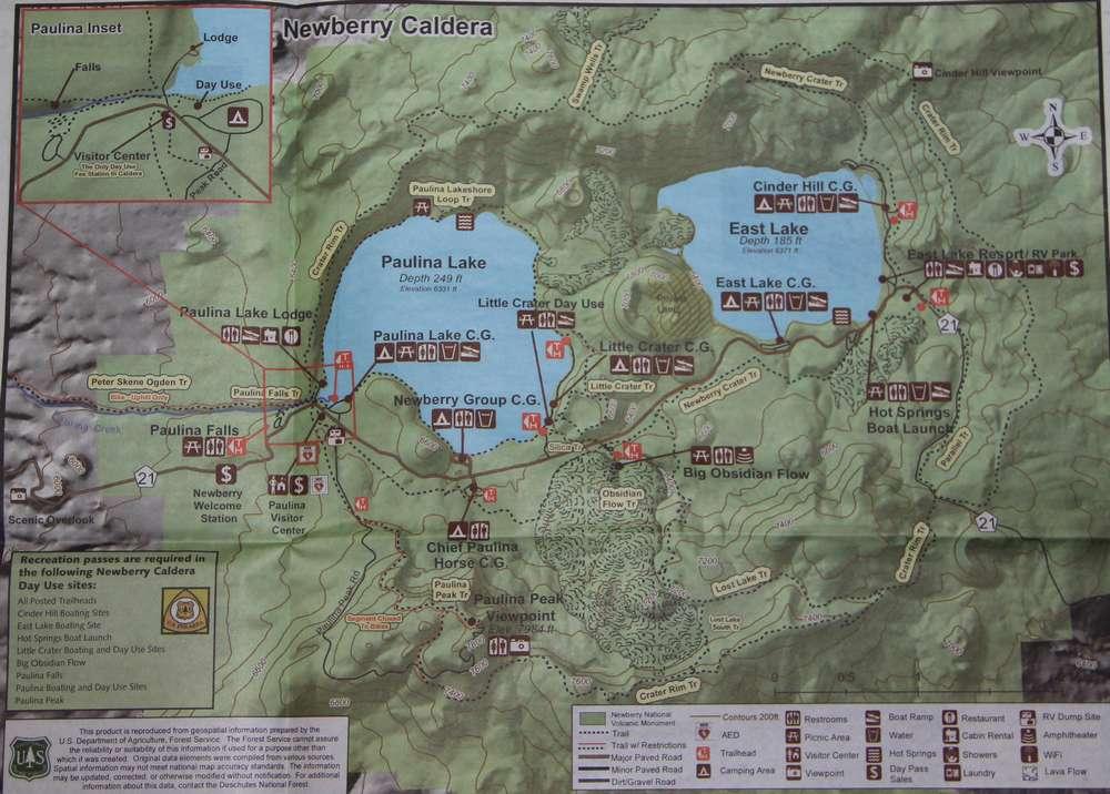 Карта Национального памятника Ньюберри Вулканик