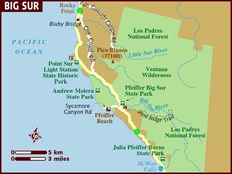 Схема Биг Сюр в Калифорнии
