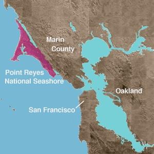 Карта берега Калифорнии у Сан-Франциско