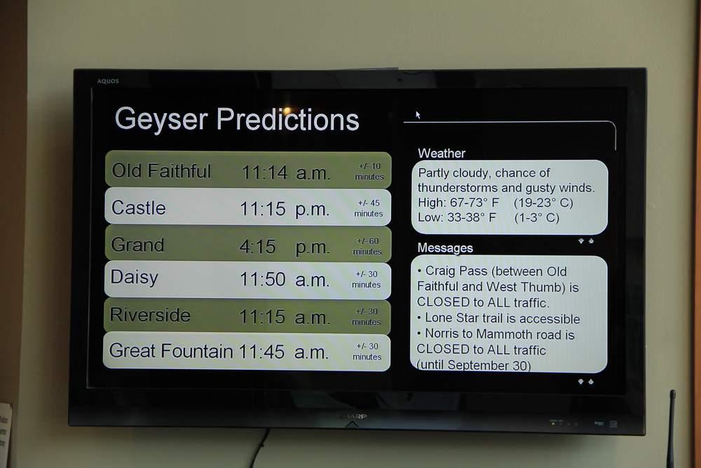 Расписание извержения гейзеров