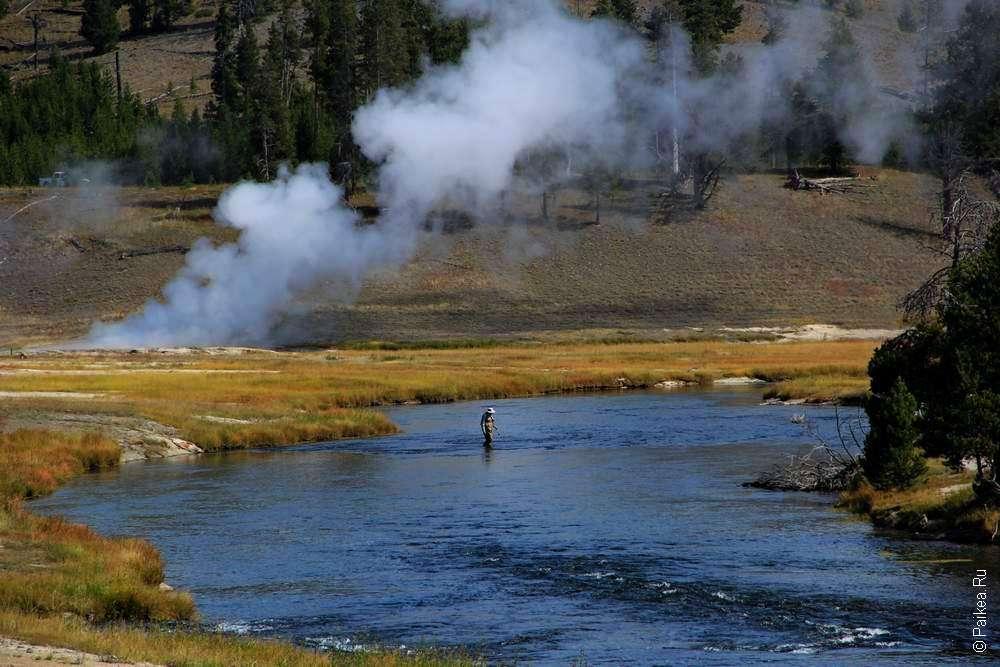 Firehole river в штате Вайоминг США