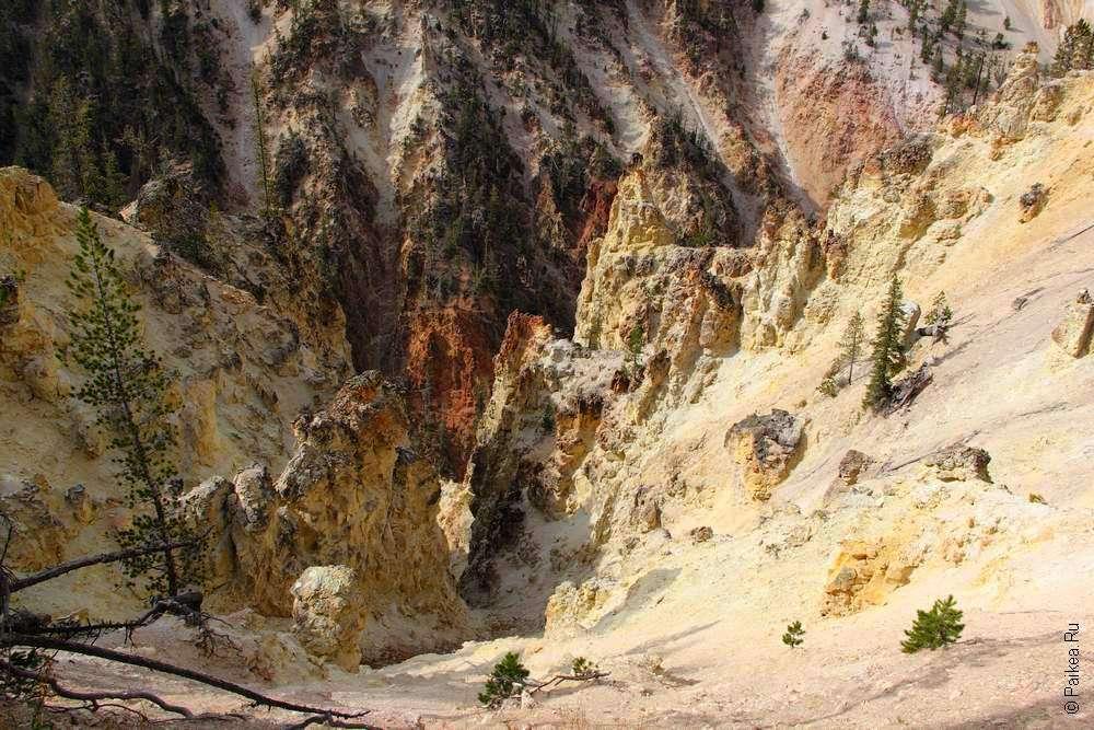 Южный рим каньона в парке Йеллоустоун