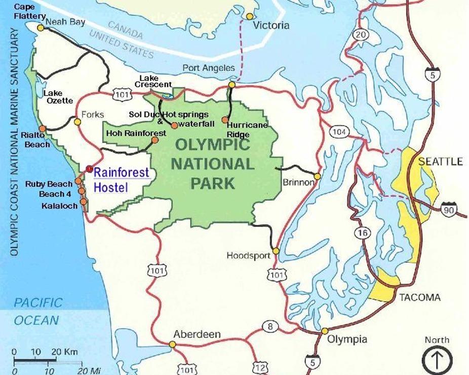 Карта нацпарка Олимпик в большом разрешении (кликабельна)