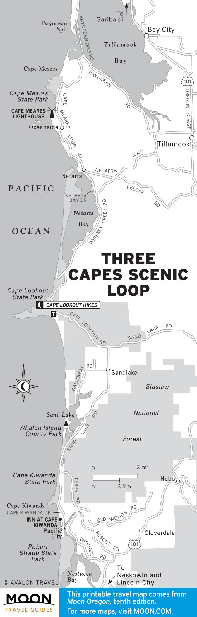 Карта маршрута по трем мысам Мыс Киванда - мыс Лукаут - мыс Меарес
