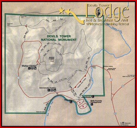 Карта национального памятника Башня Дьявола, США, штат Вайоминг