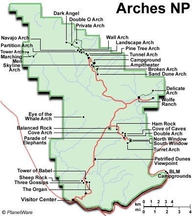 Карта нацпарка Арки (кликабельна!)