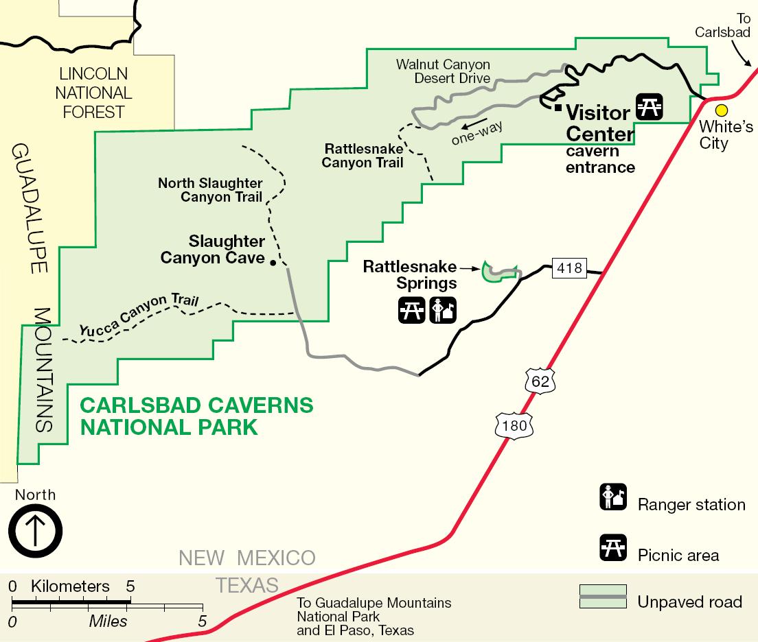 Карта нацпарка Карлсбадские пещеры