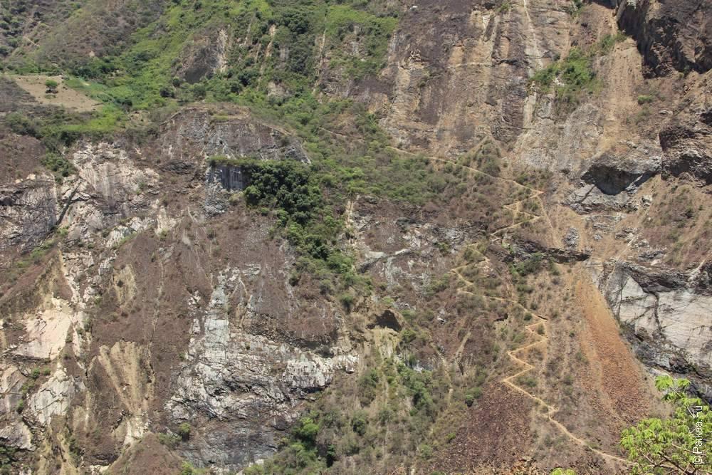 Вид на тропу первого дня с противоположной стороны каньона
