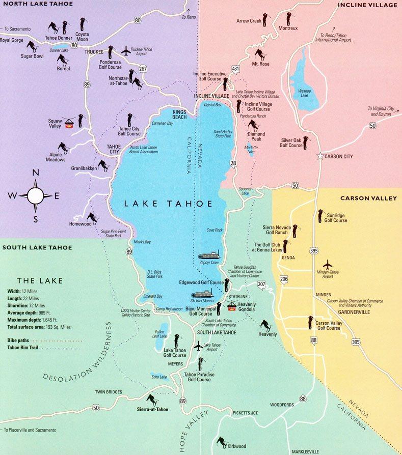 озера тахо карта