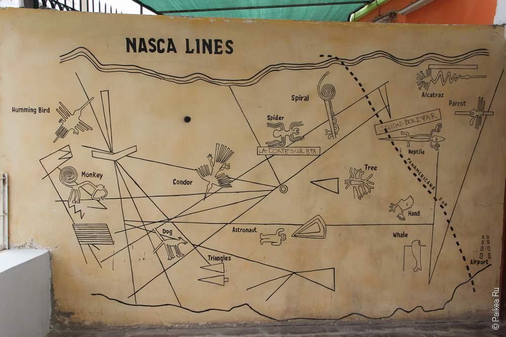 Карта линий и фигур Наска нарисована прямо на одной из стен в городе