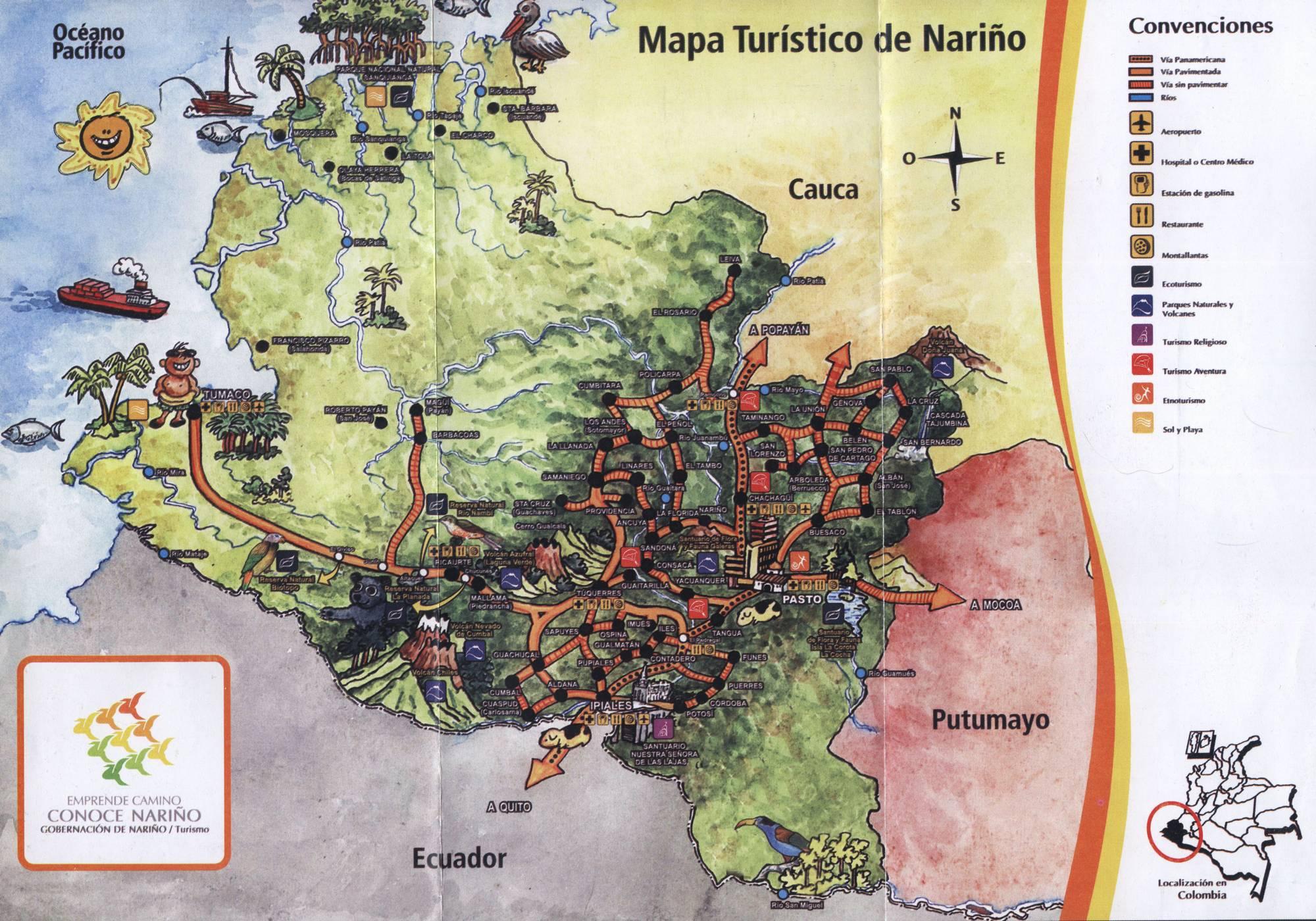 Карта департамента Нариньо