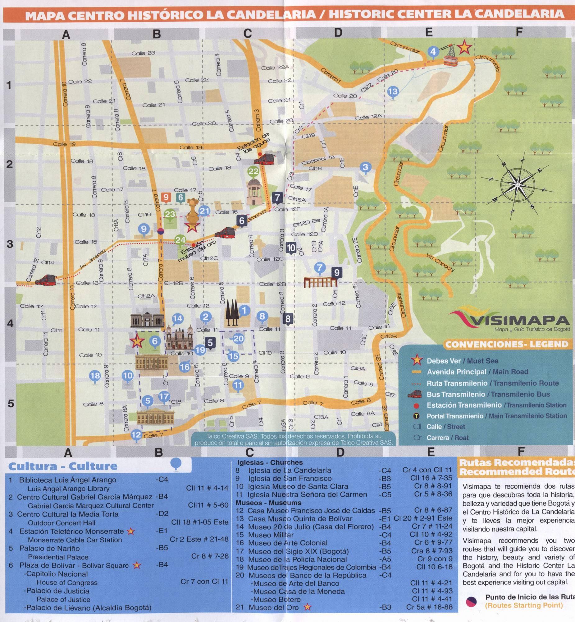 Карта центральной части Боготы