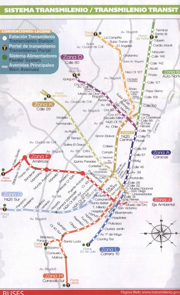 Карта маршрутов Трансмиленио