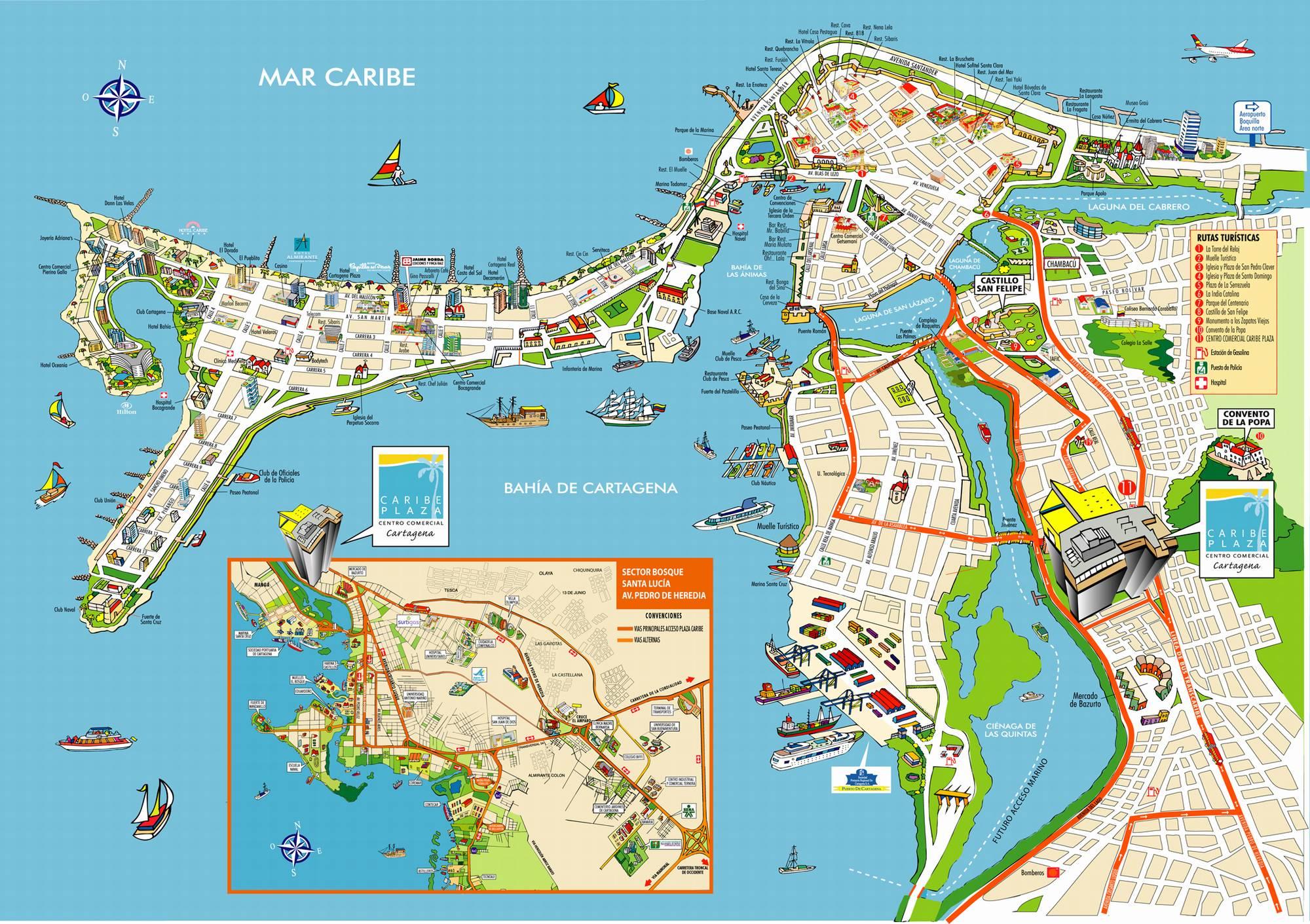 Достопримечательности Картахены на карте