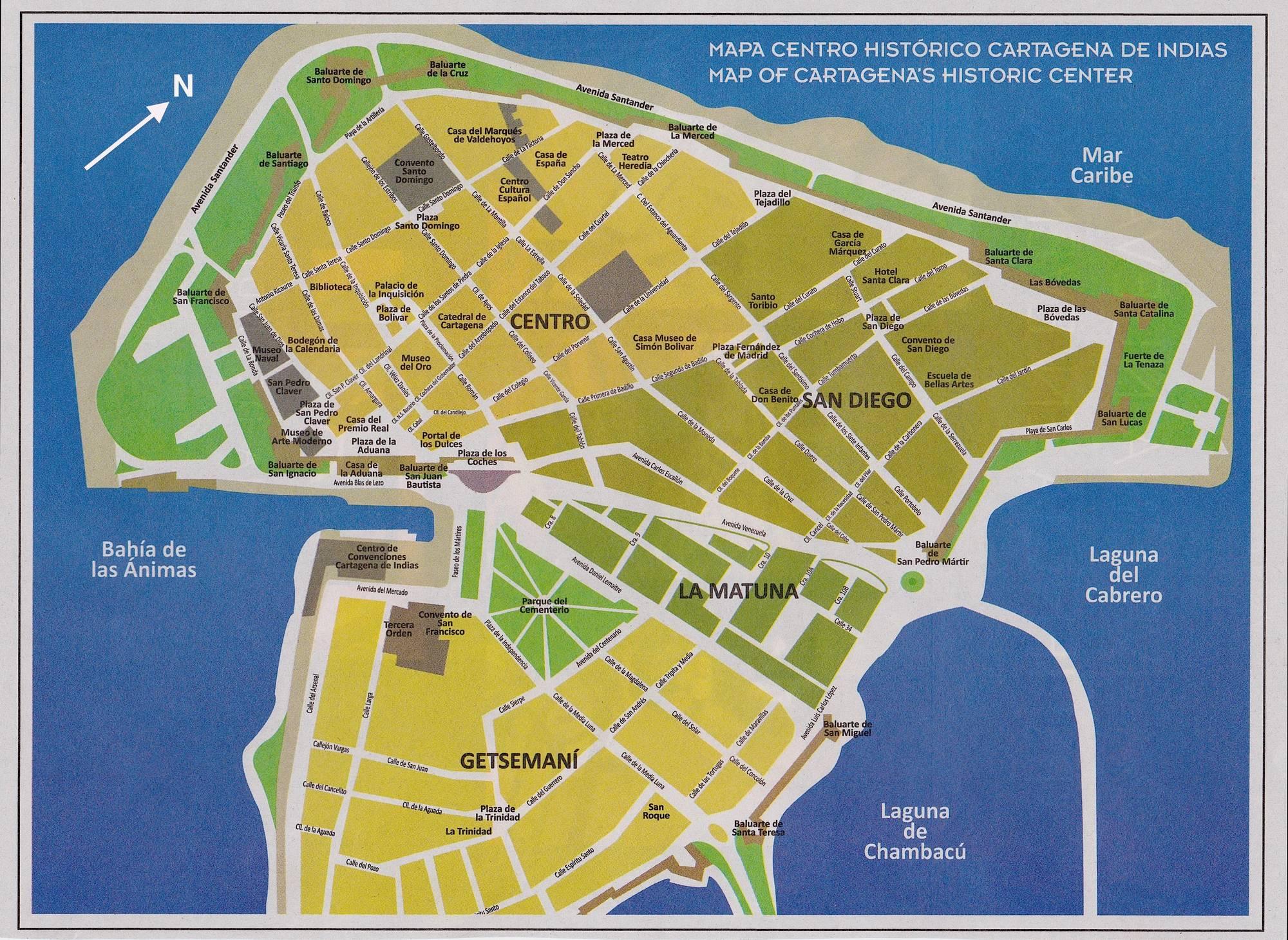 Карта города Картахена, Колумбия