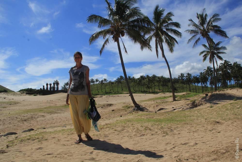 Бухта Анакена с белым песочком, пальмами и моаи