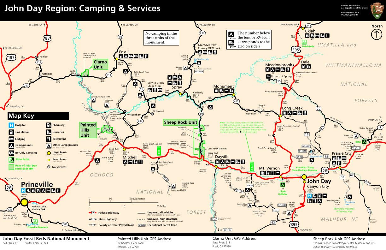 Карта кемпграундов вокруг парка Джон Дей в Орегоне