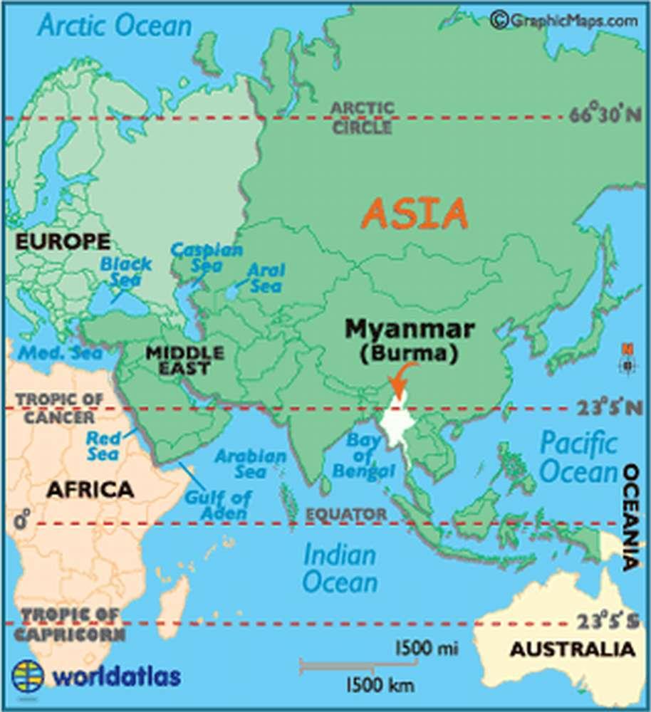 Мьянма на карте Азии