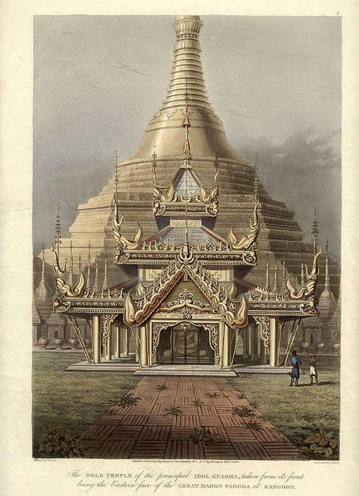 Шестигранная золотая пагода в Мьянме