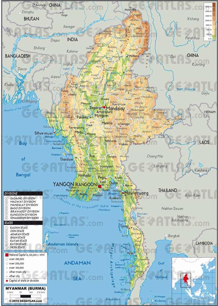 Физическая карта Мьянмы