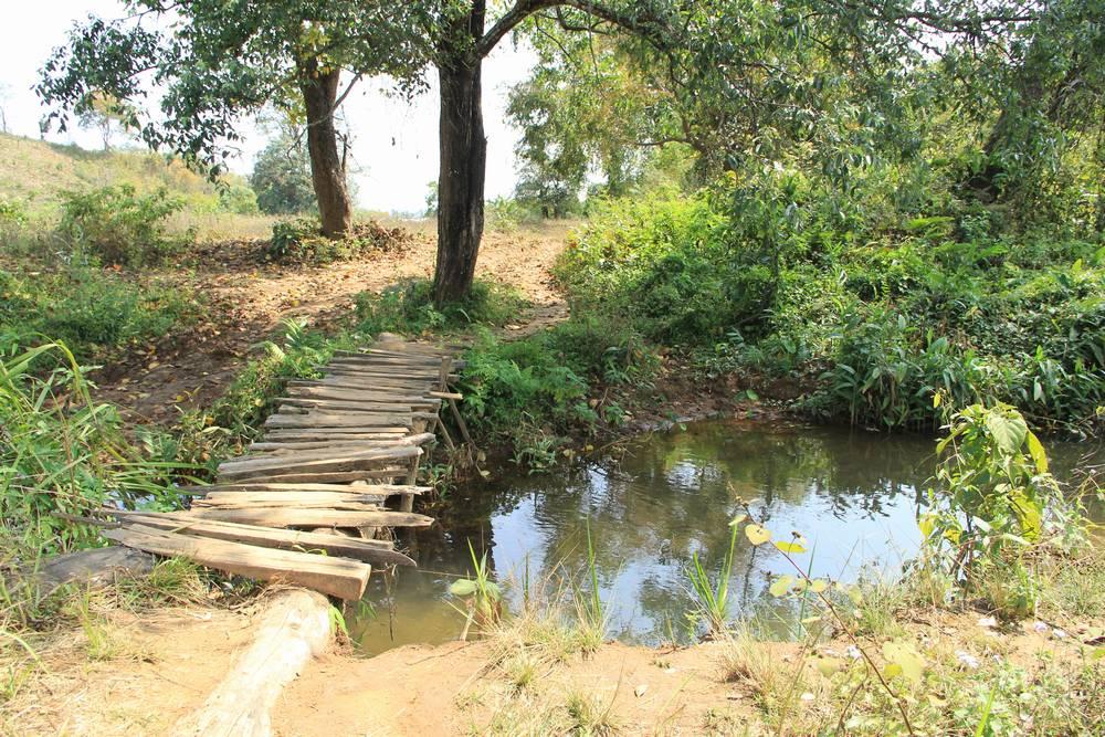 деревянный мостик через ручей