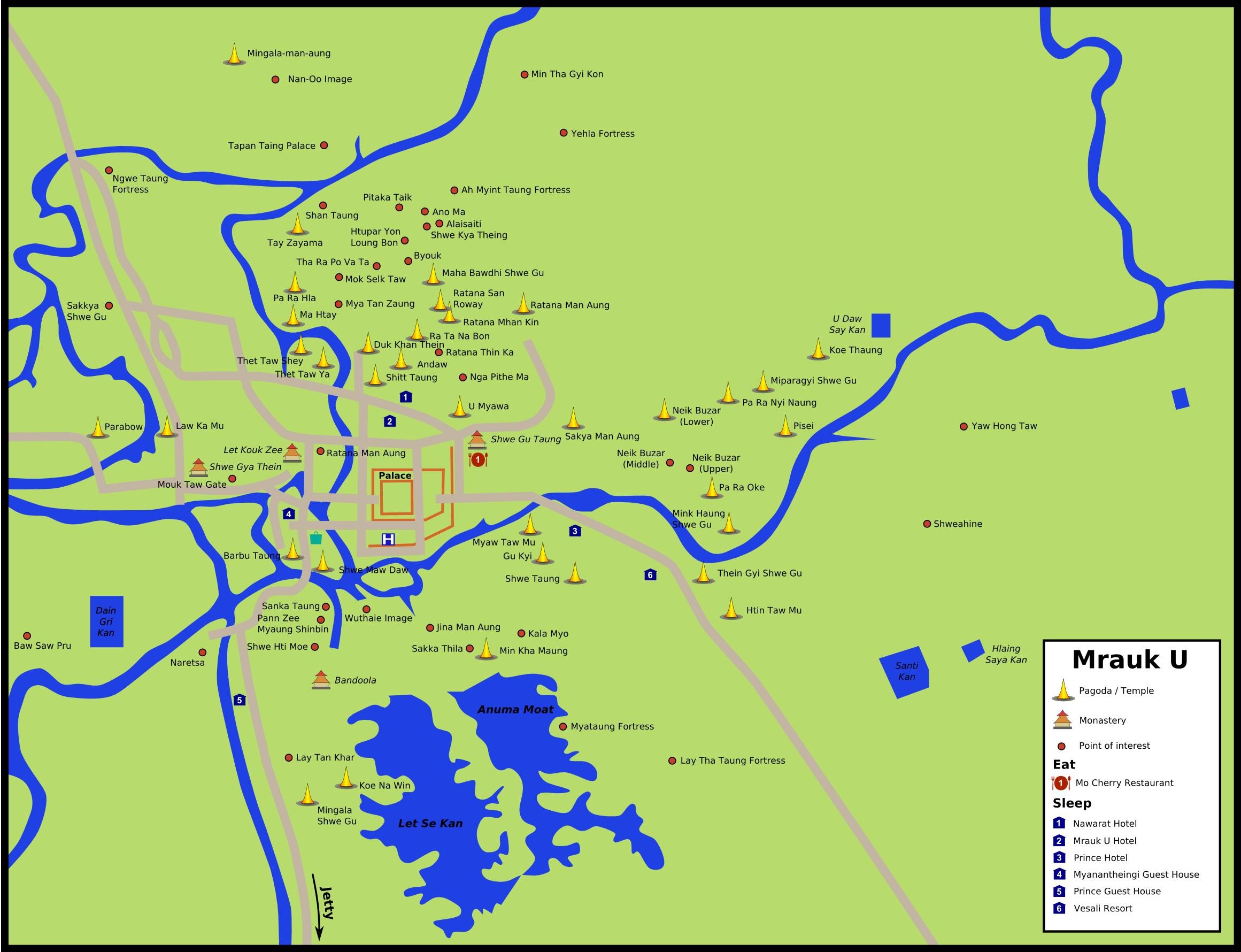Карта достопримечательностей Мраук-У