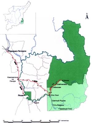 Схема дороги в Печоро-Илычский заповедник