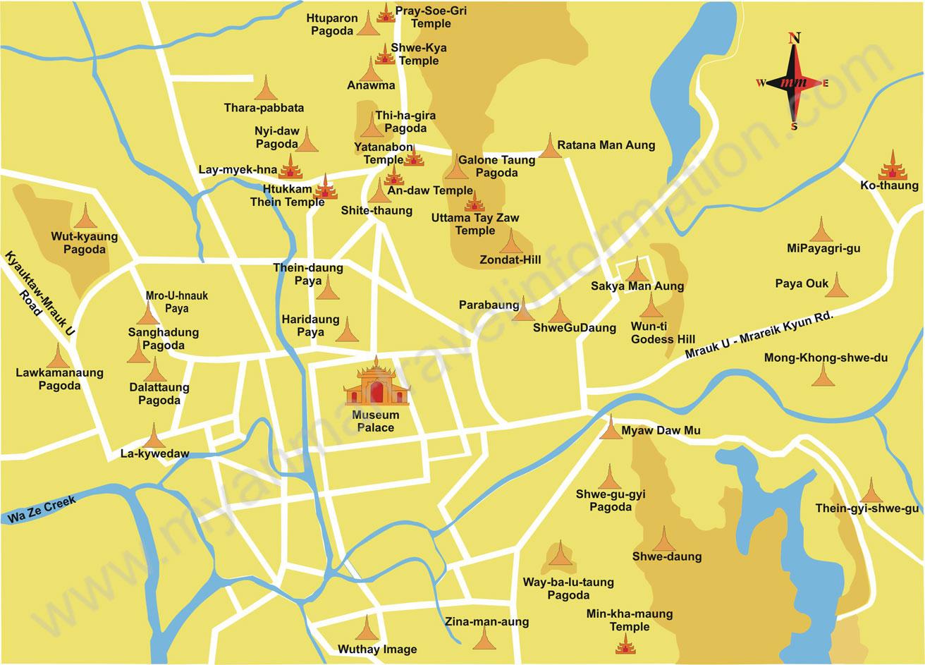 Карта основных достопримечательностей Мраук-У