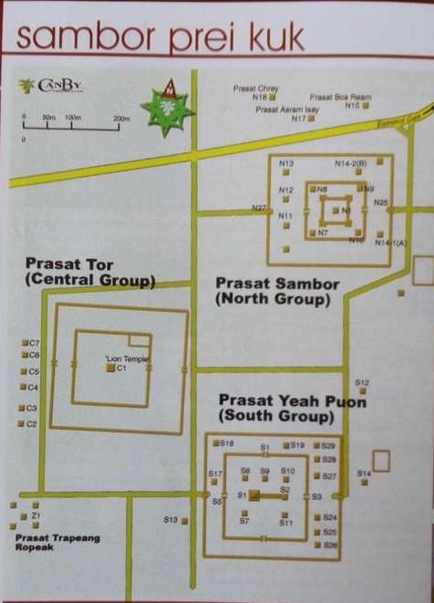 Схема расположения кхмерских храмов
