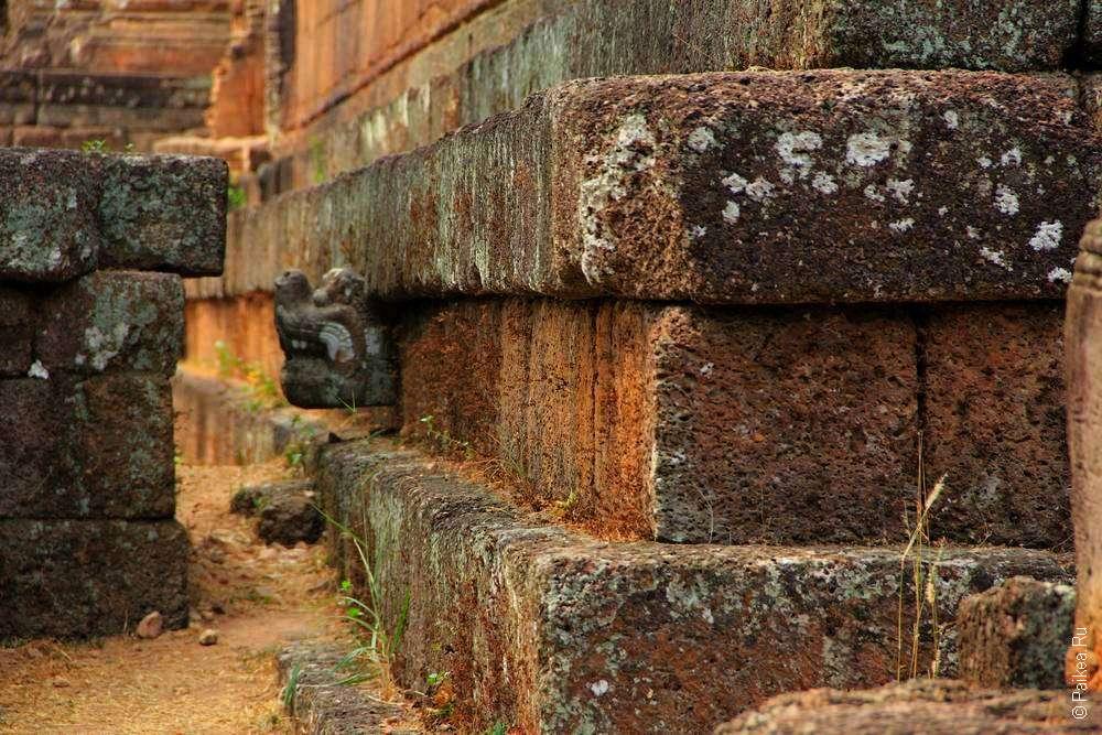 Голова дракона торчит из платформы кхмерского храма Пре Руп
