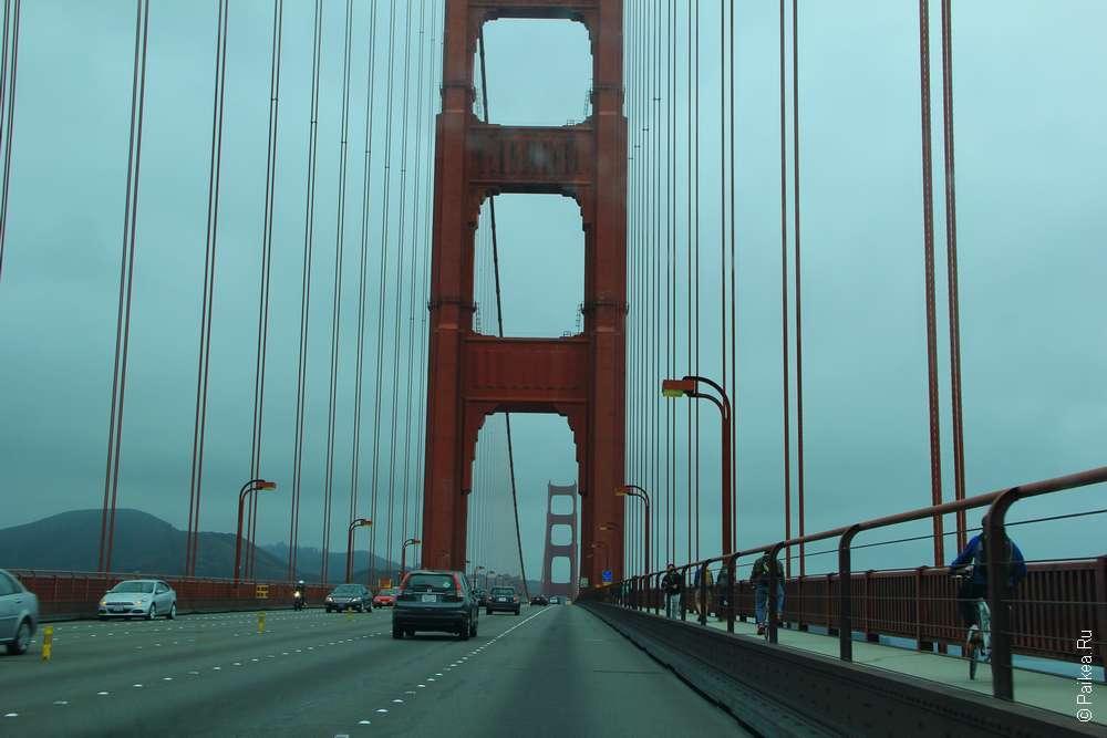 По мосту Золотые Ворота можно проехать на велосипеде или пройти пешком