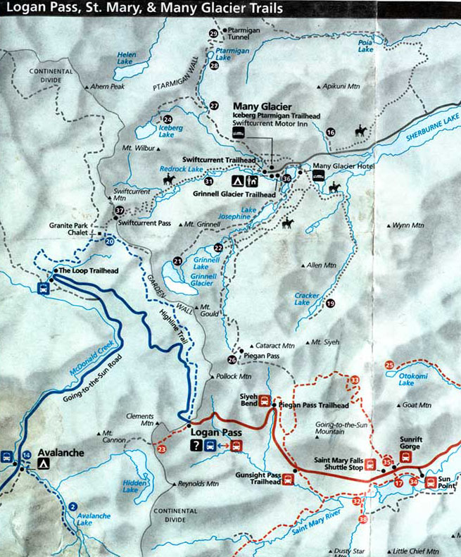 logan pass trail map