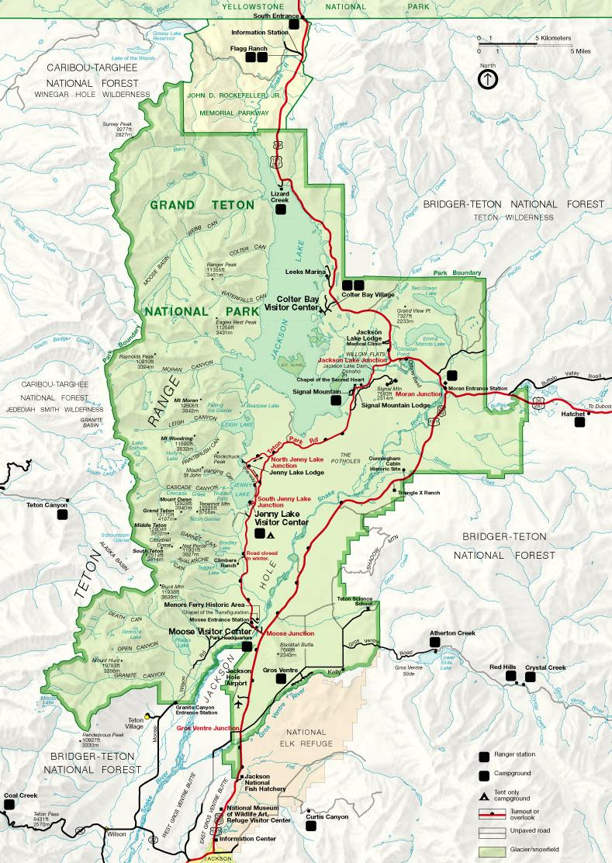Официальная карта Гранд Титон