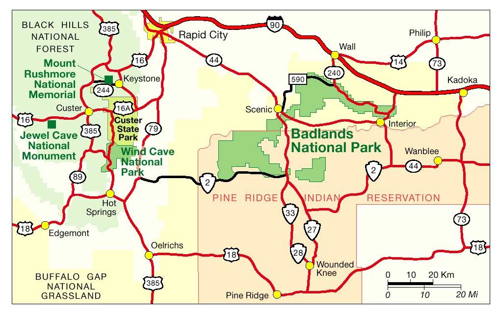 карта дорог штата южная дакота