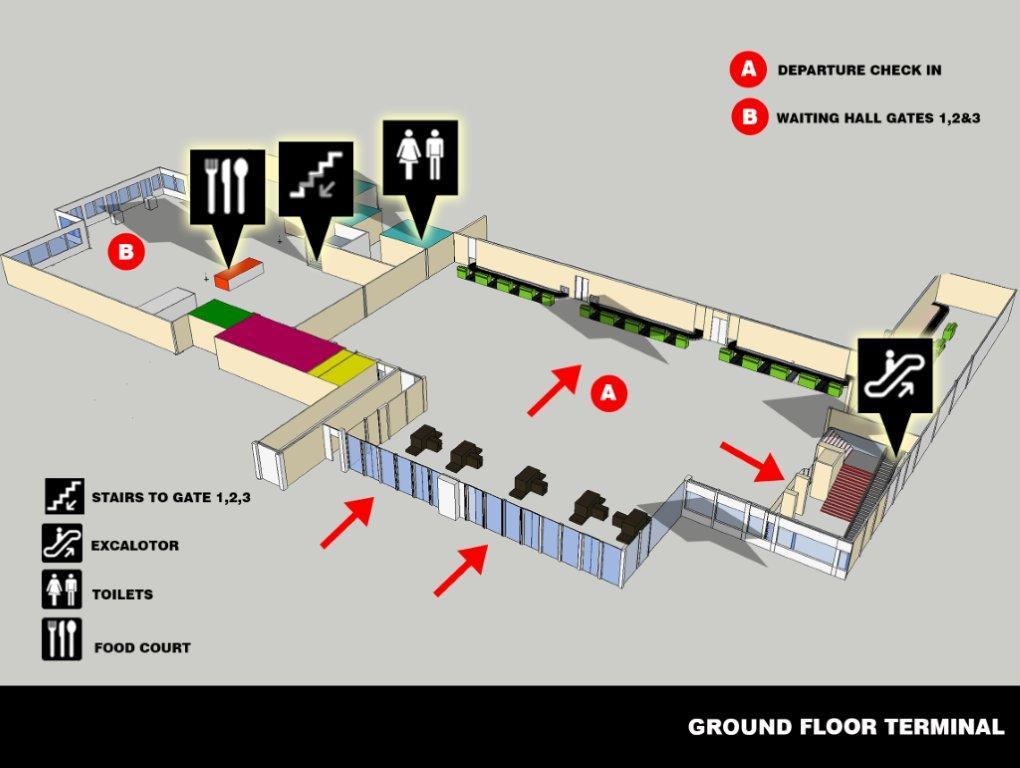 Первый этаж аэропорта Мале Мальдивы